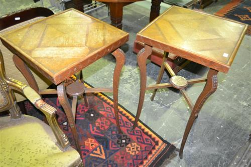 Pair of unusual Oak Lamp Tables with Parquetry Tops