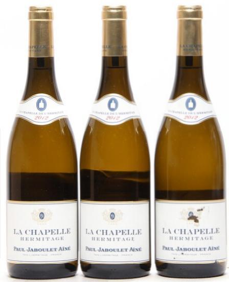 """3 bts. Hermitage Blanc """"La Chapelle"""", Paul Jaboulet Ainé 2012 A (hf/in)."""