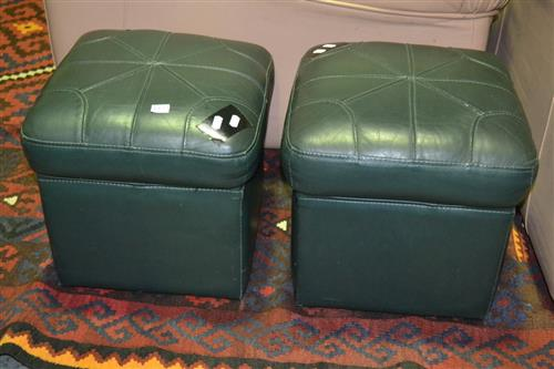 Pair Of Green Leather Footstools