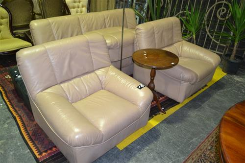 Four Piece Leather Lounge Setting Inc Three Seater, Two Armchairs and An Ottoman By King Leather