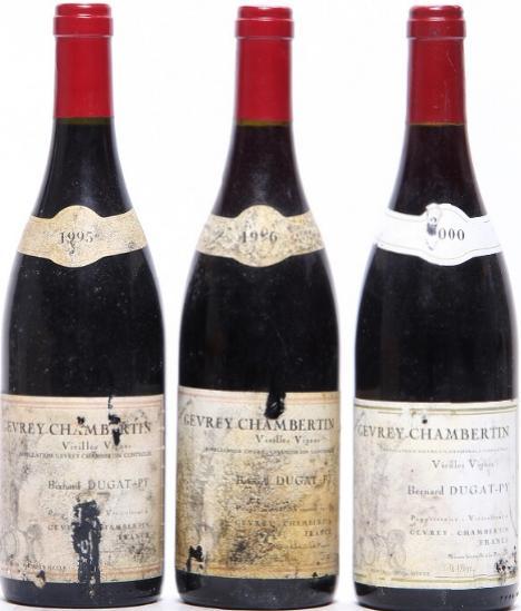 """1 bt. Gevrey-Chambertin """"Vieilles Vignes"""", Bernard Dugat-Py 1996 A (hf/in). etc. Total 3 bts."""