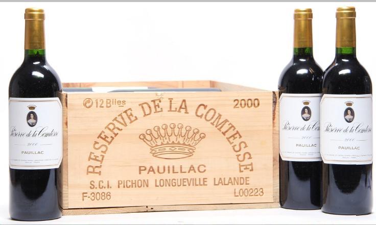 12 bts. Réserve de la Comtesse, 2wine Ch. Pichon Longueville Comtesse 2000 A (hf/in). Owc.