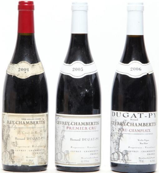 "1 bt. Gevrey Chambertin 1. Cru ""Champeaux"", Bernard Dugat-Py 2006 A (hf/in). etc. Total 3 bts."