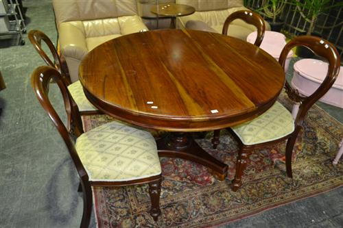Five Piece Dining Setting Inc Round Table And Four Balloon Back Dining Chairs