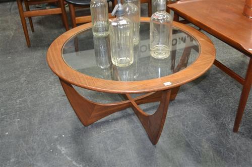 Circular G Plan Teak coffee table with Glass Top