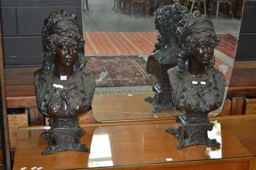 Pair Of Classical Bronze Style Busts
