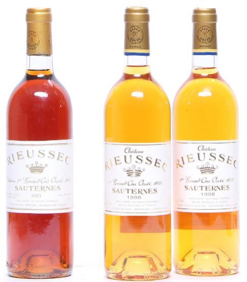 1 bt. Château Rieussec, Sauternes. 1. Cru Classé 1983 A-A/B (bn). etc. Total 3 bts