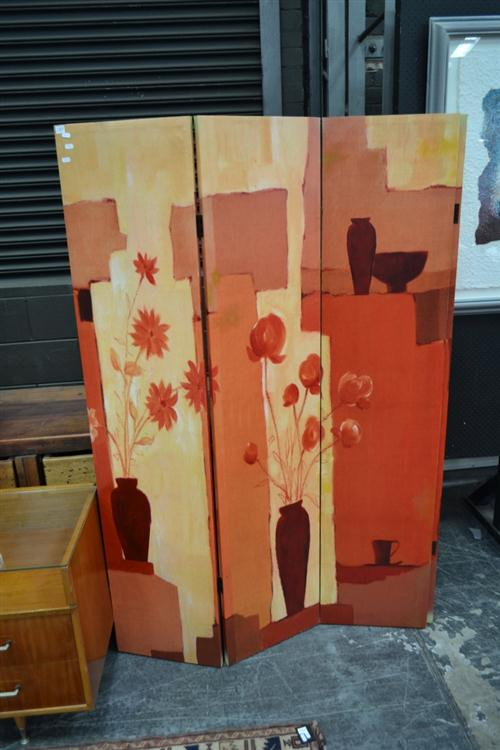 Painted 4 Panel Screen