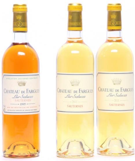 2 bts. Château de Fargues, Sauternes 2011 A (hf/in). etc. Total 3 bts