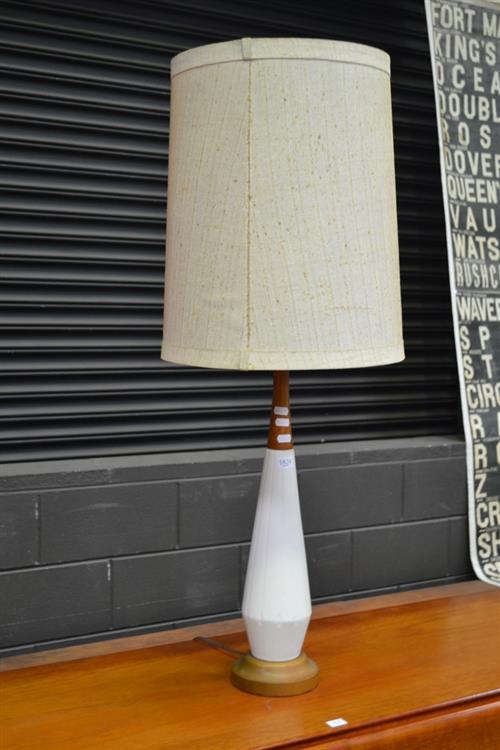 Ceramic and Teak Table Lamp