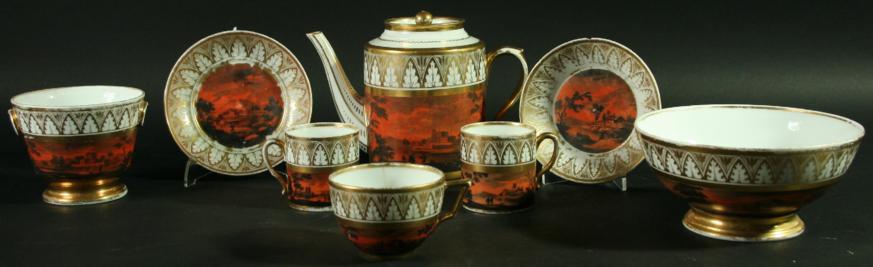 PARIS PORCELAIN PART TEA AND COFFEE SERVICE