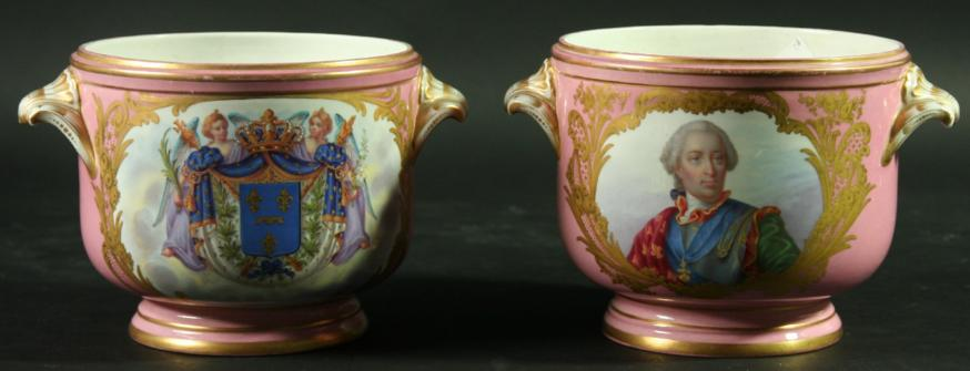 A PAIR OF SEVRES STYLE CACHE POTS