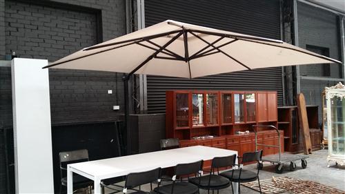 Outdoor Adjustable Umbrella (Some Damage) incl. Concrete Slab Weights