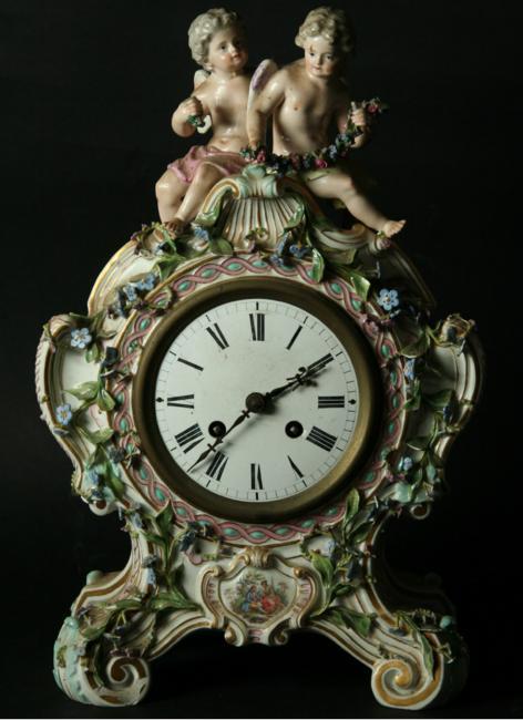 A MEISSEN STYLE PORCELAIN CLOCK