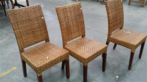 Set Of Eight Wicker Dining Chairs