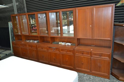 Large 3 Piece Australian Teak Wall Unit w Glass Doors Above Cabinet Base (stamped to back)