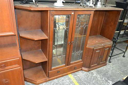 Three Piece Entertainment Cabinet With Leadlight Panel