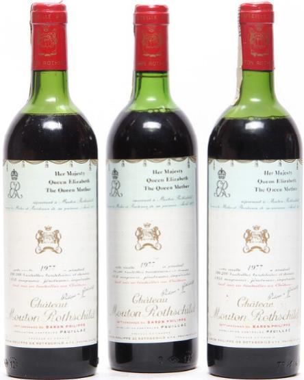 3 bts. Château Mouton Rothschild, Pauillac. 1. Cru Classé 1977