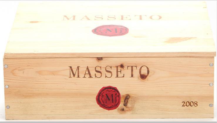 3 bts. Masseto, Tenuta dell'Ornellaia, Toscana IGT 2008 A (hf/in). Owc.