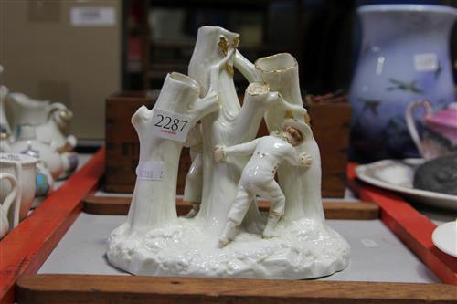 Royal Worcester 'Hide & Seek' Porcelain Figural Three Stem Posy Vase