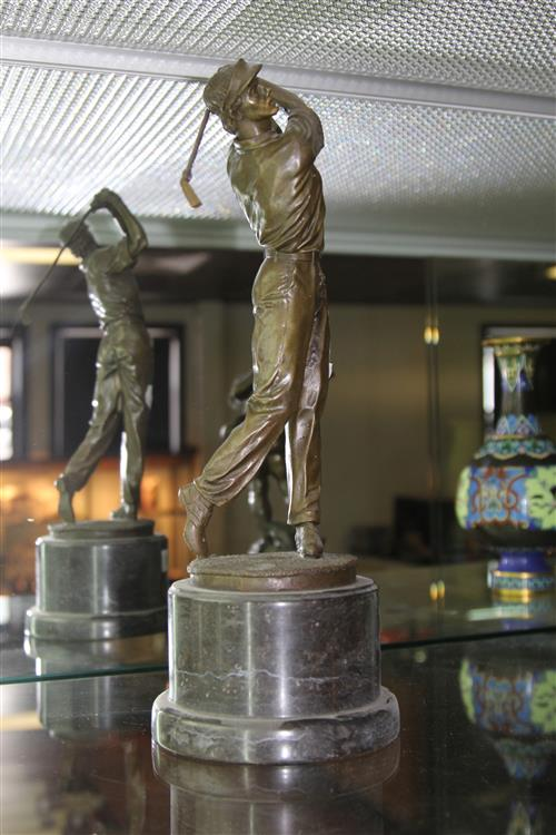 Bronze Golf Player on Marble Stand
