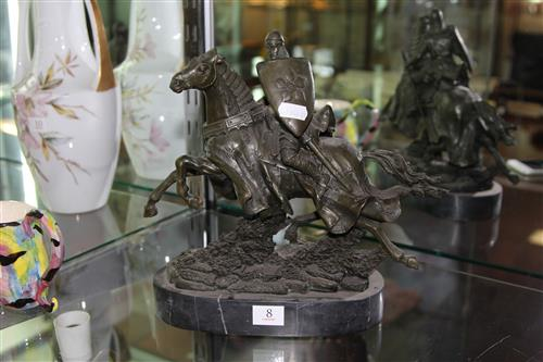 Bronze Knight on Marble Stand