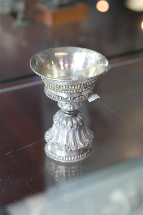An Early Tibetan Silver Butter Lamp