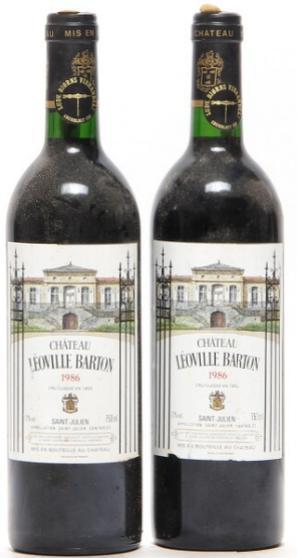 2 bts. Château Léoville Barton, Saint - Julien. 2. Cru Classé 1986 A-A/B (bn)