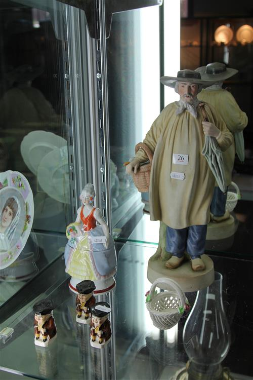 Bisque Figure of a Gent with Other Ceramics incl Figural Salt & Peppers