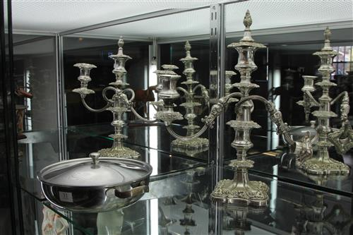 Silver Plated Pair of Candelabrum with a Pot