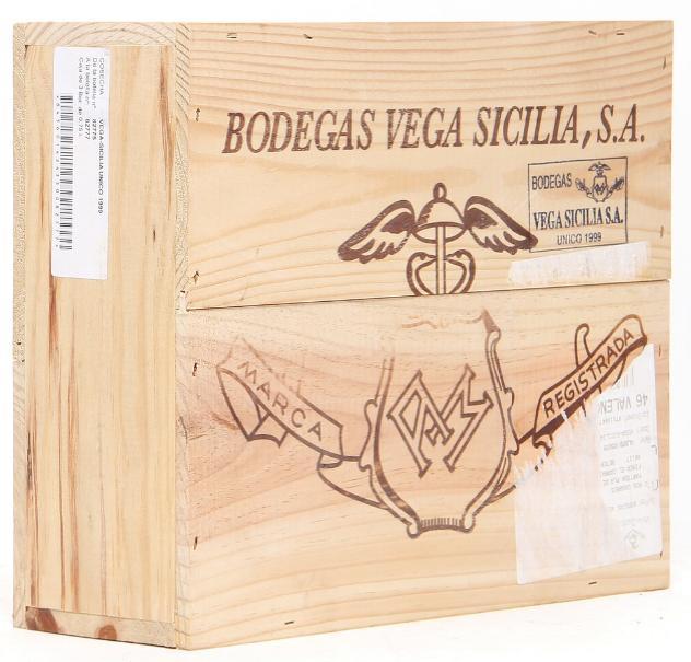 3 bts. Vega Sicilia Unico, Ribera del Duero 1999 A (hf/in). Owc.