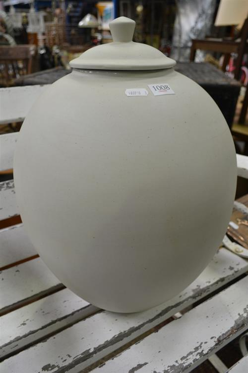 A Lidded Off White Ceramic Jar