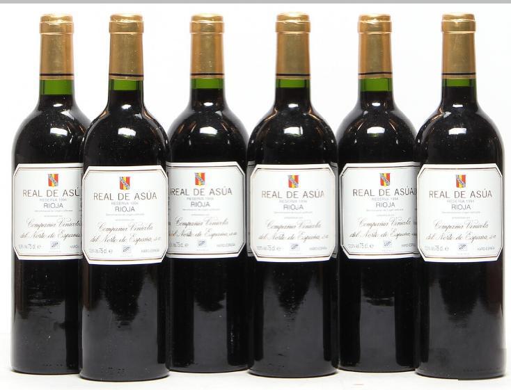 6 bts. Real de Asua, CVNE, Rioja 1994 A (hf/in). Oc.