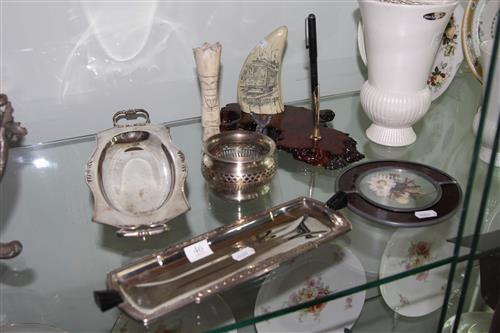 Composition Desk Set with Other Wares incl Silver Plate
