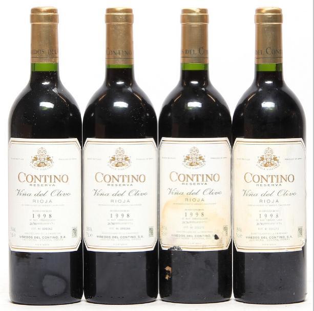 20 bts. Vina del Olivo Reserva, Vinedos del Contino, CVNE, Rioja 1998 A (hf/in). Oc.