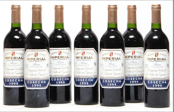 7 bts. Imperial Gran Reserva, Compania Vinicola del Norte de Espana 1994 A/B (ts).
