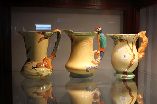Burleigh Ware ''Parrot'', ''Kingfisher'' & ''Squirrel'' Jugs