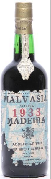 1 bt. Malvasia Madeira, Companhia Vinicola da Madeira 1933 A (hf/in).