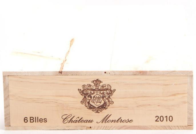 6 bts. Château Montrose, Saint - Estephe. 2. Cru Classé 2010 A (hf/in). Owc