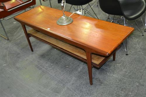 Good Quality Danish Teak Coffee Table with Rattan Shelf