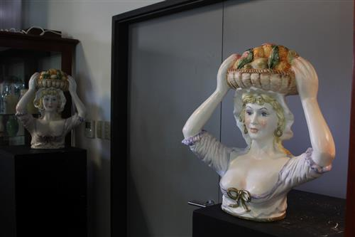Continental Pair of Busts of Ladies Carrying Fruit