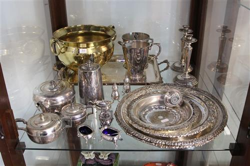 Silver Plated 4-Piece Tea Set with Other Plated Wares incl. Weighted Candlesticks