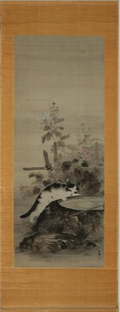 Japanese kakemono decorated with cat at pond, paint on silk