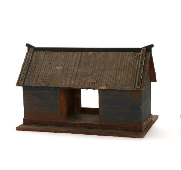 Chinese painted wood doll house