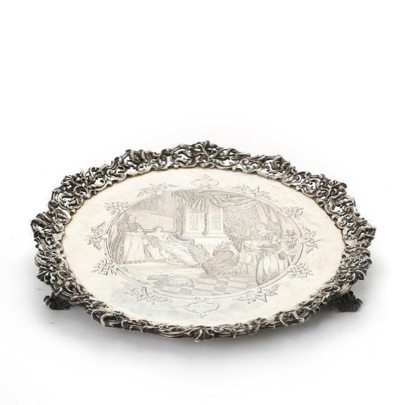 A silver salver, maker John Angell II & George Angell, London 1849