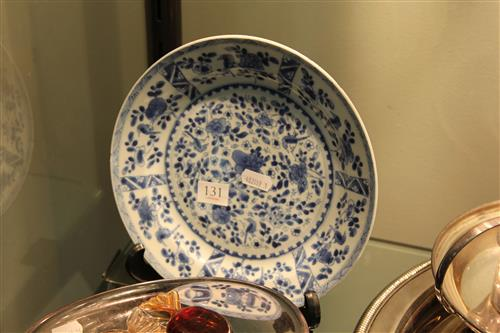Kangxi Period Blue & White Export Ware Plate detail painted