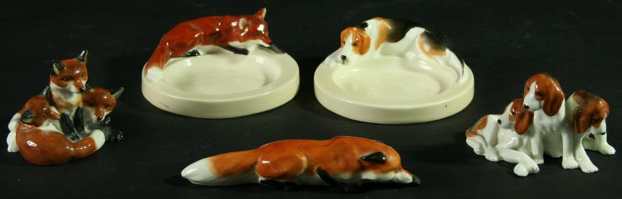 FOX AND HOUND, TWO ROYAL WORCESTER ASHTRAYS,