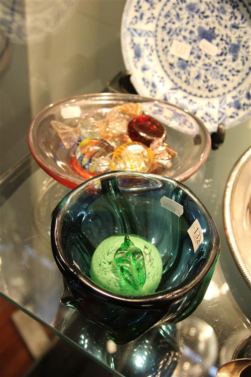 Swedish Art Glass Dish with Other Art Glass incl. Sweets