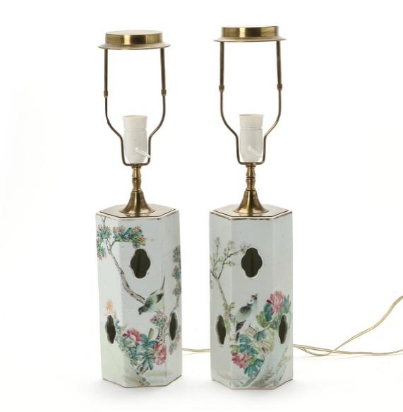 A pair of Chinese porcelain hatstands decorated in enamel colours