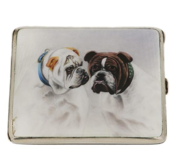 German silver cigarette case with enamel front with two Bull dogs